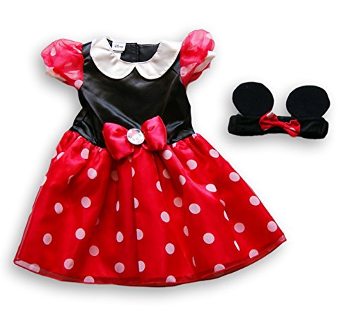 R Babies Mouse Costume Minnie Us (Disney Girls 2 Piece Red/Black Minnie Mouse Costume with Mouse Ears - 6/9)