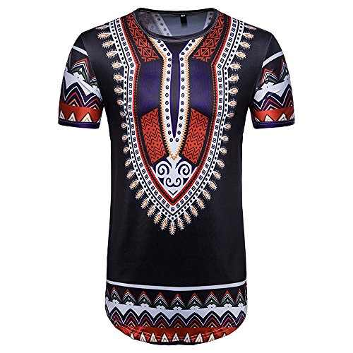 (African Print T-Shirt Summer Casual O Neck Pullover Short Sleeve Top Blouse Beautyfine)