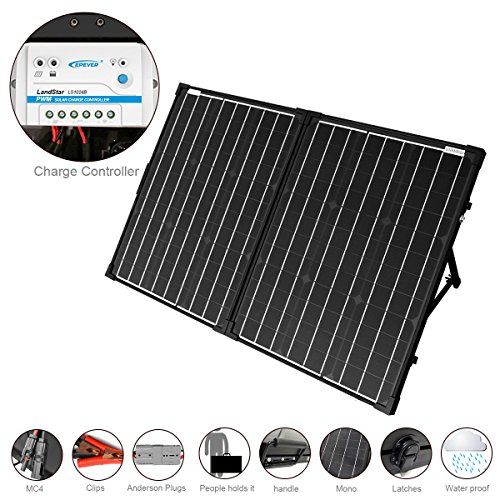 ACOPOWER 100W Foldable Solar Panel Kit, 12V Battery and Generator Ready Suitcase with Charge Controller by ACOPOWER