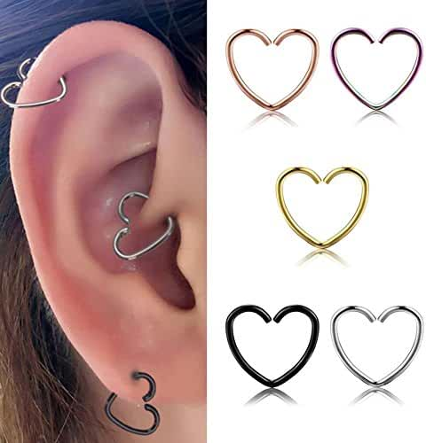 Miraculous Garden 10mm 5pcs Womens Multi-functional Heart Shaped Stainless Steel Cartilage Earring Hoop (5PCS Pack)