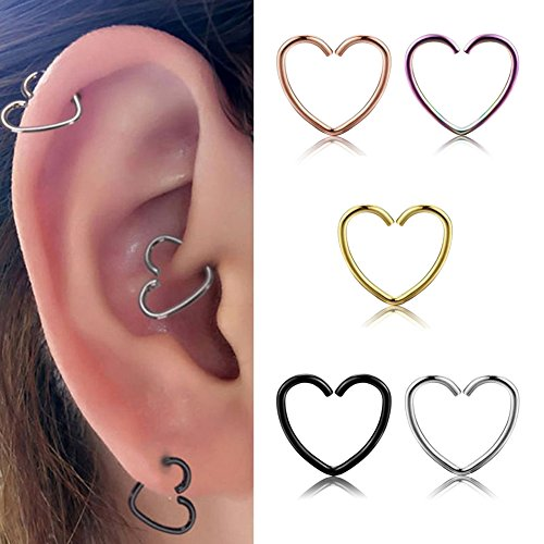 Heart Shaped Bar (Miraculous Garden 10mm 5pcs Womens Multi-functional Heart Shaped Stainless Steel Cartilage Earring Hoop (5PCS)