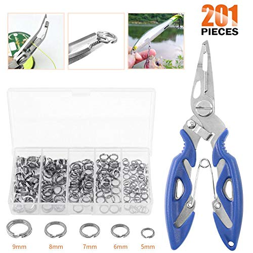 Rustark 201 Pcs Stainless Steel Fishing Split Rings 5 Sizes Double High Strength Lure Tackle Connector kit with Fishing Pliers Fish Hook Remover Fishing Tackle for Freshwater and Saltwater