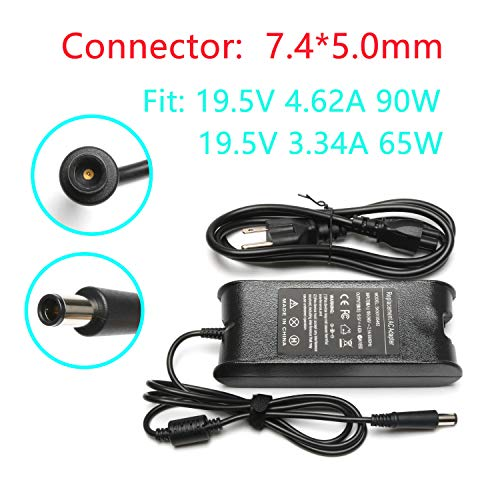 19.5V 4.62A 90W Laptop Charger for Dell Latitude E6320 E6510 E6420 E6430 E6330 E6440 E6400 E7440 E5450 E7450 E7240 E6410 E6520 E6540 E5540 E5430 E4310 E5550 E5530 E6500 E5400,PA 12 LA90PM111 LA65NM130 (Dell Latitude D600 Screen)