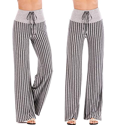 (FITTOO Women Long Length Wide Legs Stripe Lounge Palazzo Pajama Pants Striped Yoga Pants with Adjustable Drawstring Black Stripe)