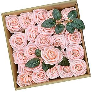 PETAFLOP Rose Flowers Pink Flowers Fake Rose Artificial Flowers Centerpieces for Tables, 25 Pieces 2