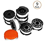 AIVS Line String Trimmer Replacement Spool, 30ft 0.065'' Autofeed Replacement Spools for BLACK+DECKER String Trimmers, 9 Pack (8 Replacement Spool, 1 Trimmer Cap)