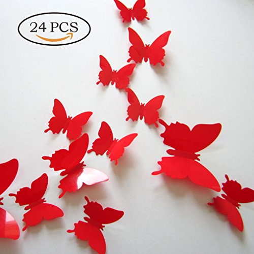Butterfly Wall Decals - 24Pcs 3D Butterflies Decor for Wall Removable Mural Wall Stickers Home Decor Red