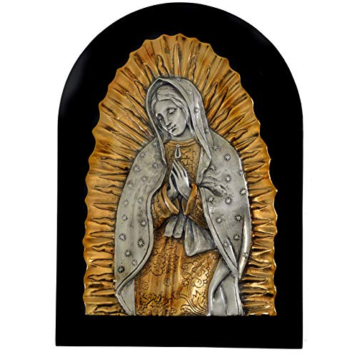 High-End Decor - Our Lady of Guadalupe Virgin Mary with Radiance Embossed Wall Plaque - Wall Hanging Religious Art Home Decoration - Nickel/Brass (12 1/4 inches)