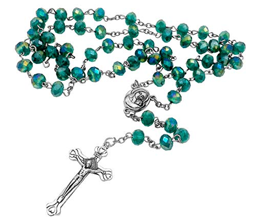 (Green Crystal Beads Rosary Necklace | Catholic Jerusalem Holy Soil Centerpiece Medal & Cross in Velvet Bag | Long Rosaries Design)