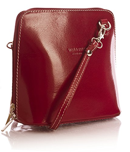 véritable One italien Shop Rouge Handbag Big Vera Mini rouge cuir bandoulière sac Pelle en g4Svw