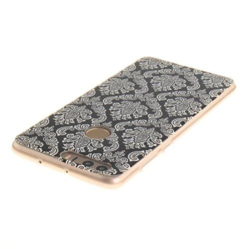 Hozor Huawei Honor 8 Cas, Motif Peint TPU Souple En Silicone Couverture Arrière Slim Fit Antichoc Scratch Résistant Cas De Téléphone De Protection Bord Transparent Retro art