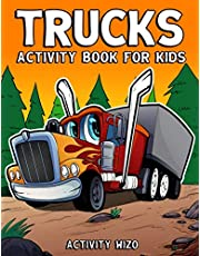Trucks Activity Book For Kids: Coloring, Dot to Dot, Mazes, and More for Ages 4-8
