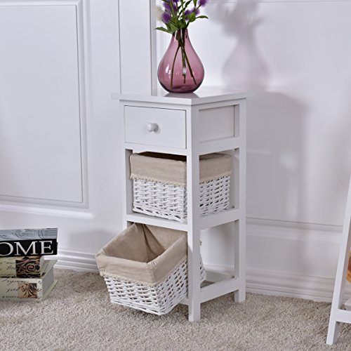 Giantex Wooden Bedside Table Nightstand Chest Cabinet Bedroom Furniture Drawer Baskets (1)