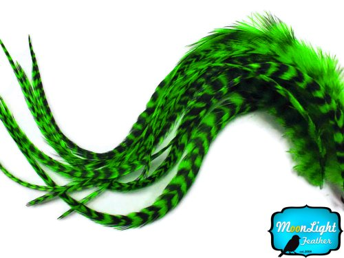 Moonlight Feather, Hair Extension Feathers - Kelly Green Thick Long Grizzly Rooster Hair Extension Feathers - 7-11 Inches Long - 6 Pieces Per Pack