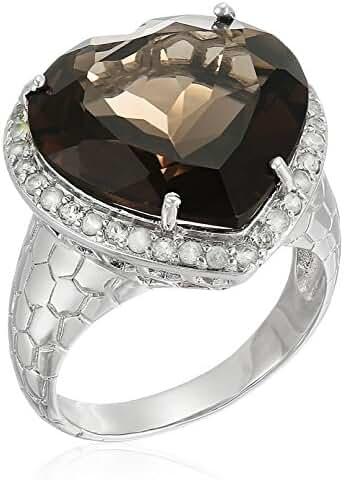 Smokey Quartz Heart Ring with Peridot Accents Ring