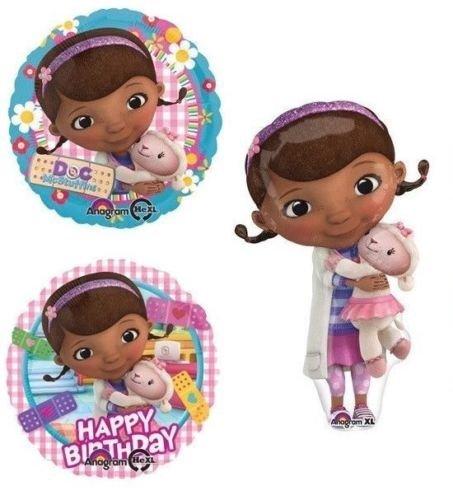 LoonBalloon DOC McStuffins Mc Stuffins Lamby (3) Happy Birthday Party BALLOON Mylar Set -