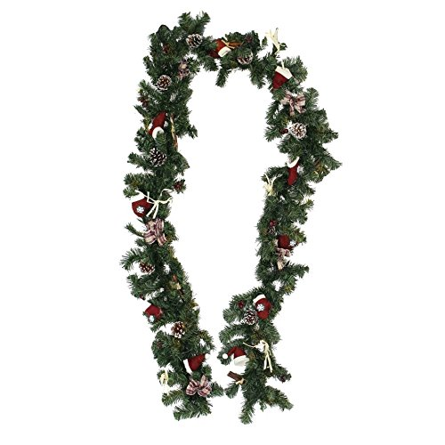 8.8 Foot Christmas Garland with Decorative Berries,Bows,Twigs,Pine Cones,Textile Boots/Hats Product SKU: - Garland 1 Pier Christmas