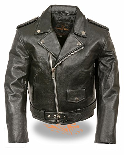 Milwaukee Leather Kids Traditional Style Motorcycle Leather Jacket (Black, ()