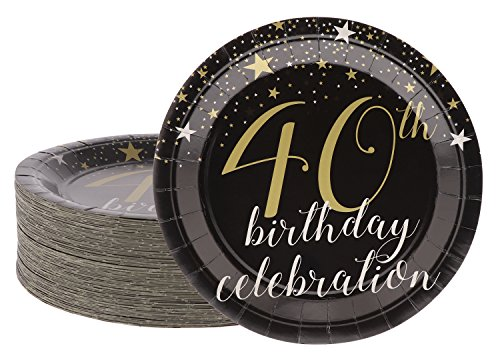 Disposable Plates - 80-Count Paper Plates, 40th Birthday Party Supplies for Appetizer, Lunch, Dinner, and Dessert, 9 x 9 Inches -