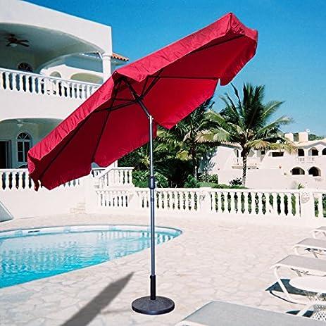 Amazon Apontus Market Patio Umbrella 9 Aluminum Tilt W Crank Outdoor Red Garden