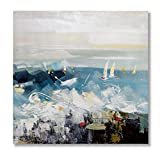 """In Liu Of   Modern Oil Painting on Canvas """"Rough Seas Ahead"""" (Ocean Sailboat Scene) Exclusive, Hand-Painted Acrylic Artwork   Contemporary Home Wall Art   Abstract Imagery & Design   32"""" x 32"""""""