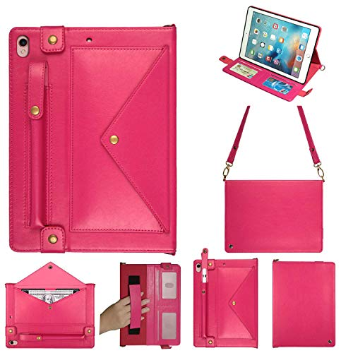 Case for iPad Pro 12.9,2nd Generation iPad Case Handbag Synthetic Leather Smart Case for iPad Pro with Pencil Holder 4 Card Holder Slot Adjustable Shoulder Strap Kickstand 12.9 Inch iPad 1st Case