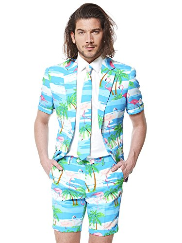 Opposuits Men's Summer Suit - Flaminguy - Includes Shorts, Short-Sleeved Jacket & Tie by Opposuits