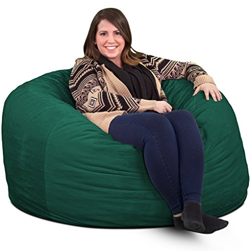 ULTIMATE SACK Bean Bag Chairs in Multiple Sizes and Colors: Giant Foam-Filled Furniture - Machine Washable Covers, Double Stitched Seams, Durable Inner Liner. (4000, Hunter Green Suede)