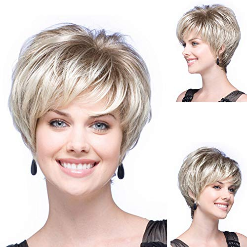 GNIMEGIL Lightest Blonde Hair Trendy Short Wigs for Women Natural Synthetic Hair Full Wigs with Bangs