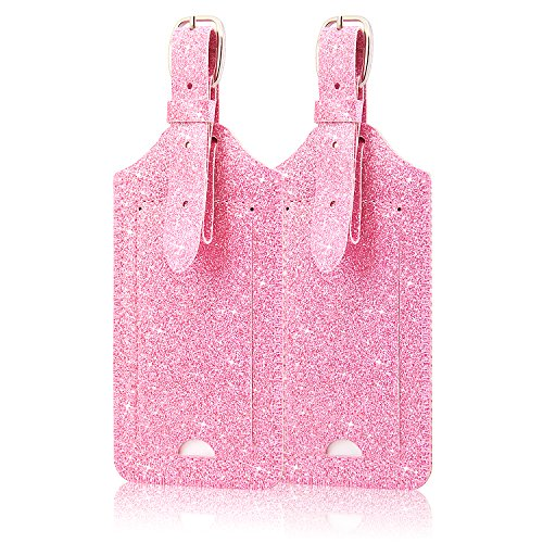 [2 Pack]Luggage Tags, ACdream Leather Case Luggage Bag Tags Travel Tags 2 Pieces Set, Glitter Pink