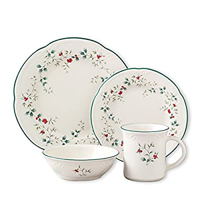 Pfaltzgraff Winterberry 16-Piece Dinnerware Set, Service for 4 - Perfect for everyday use and for casual entertaining Create your ideal table setting with assorted coordinating salad plates and matching mugs Dishwasher and microwave safe - kitchen-tabletop, kitchen-dining-room, dinnerware-sets - 51tFGWVxsUL. SS400  -