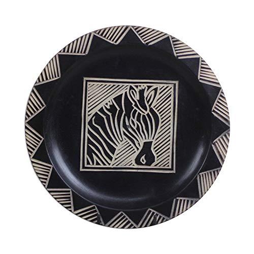 NOVICA Wood Handmade Zebra Bowl, Brown, Zebra Stripes'