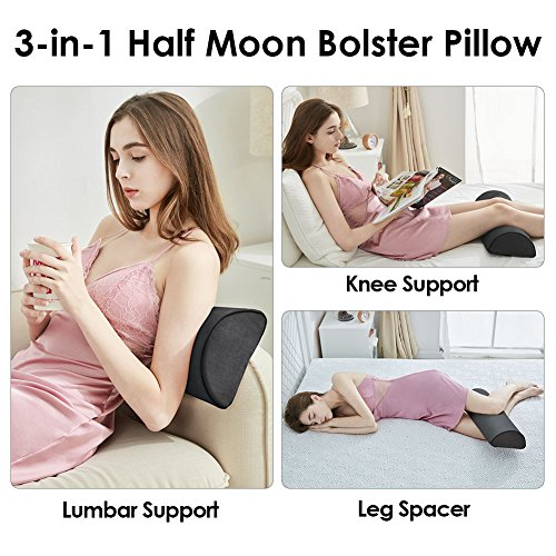 Jiaao Half-Moon Bolster Pillow for Back Pain Memory Foam Knee Support Pillow for Side & Back Sleepers, Orthopedic Half Round Leg Elevator for Sleep, Including Bonus Cover with Invisible Zipper, Gray