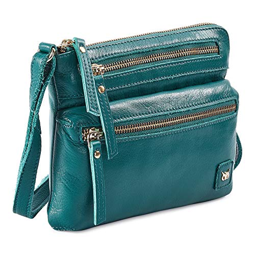 Wise Owl Accessories Small Triple Zip Real Leather Women's Crossbody- Premium Vintage Crossover Shoulder Sling Bag