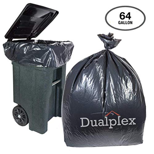 Dualplex 64 Gallon Black Trash Bags for Toter 1.5 Mill Garbage Bag 50 Bags Per Case 50