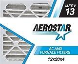 Aerostar 12x20x4 MERV 13, Pleated Air Filter, 12 x 20 x 4, Box of 4, Made in The USA