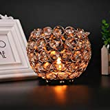 shamoluotuo Handmade Crystal Tea Light Candle Holders Coffee Wedding Table Decorative Centerpiece Candlesticks Dining Home Pillar Stand Photo Props Gifts Thanksgiving Birthday Housewarming (Golden, S)