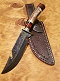 Handmade Deer Antler Handle Hunting Knife Damascus Blade Stag Collection With Leather Sheath Premium (A231)