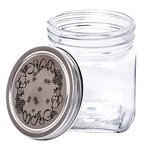 Classic | Food Saver | Square Glass Storage Container Jar with Metal Lid - 33.75 Ounces