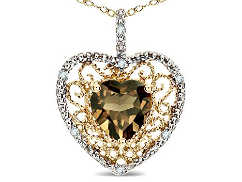 Star K Heart Shape 8mm Genuine Smoky Quartz filigree Heart Pendant Necklace 10k Yellow Gold