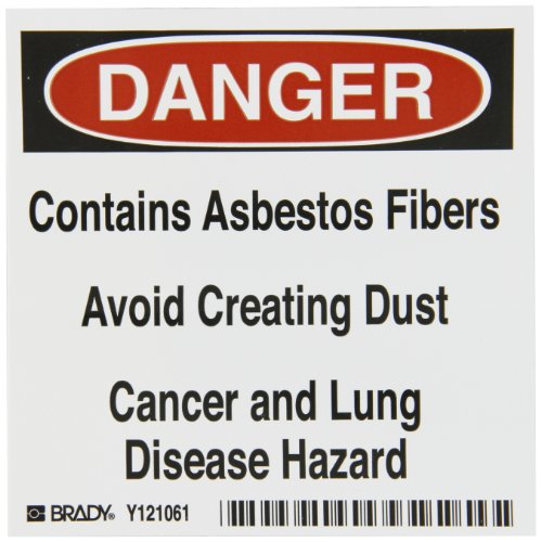 Brady 121061 Vinyl Film Asbestos Labels , Black,  Red On White,  4'' Height x 4'' Width,  Legend ''Contains Asbestos Fibers Avoid Creating Dust Cancer And Lung Disease Hazard'' (100 Labels per Package) by Brady