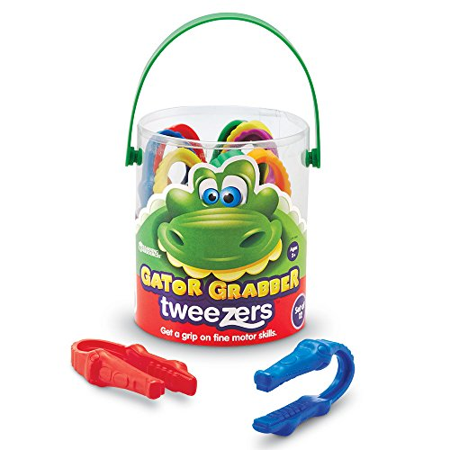 Learning Resources Gator Grabber Tweezers, Fine Motor Toy, Various Colors, Set of 12, Ages 2+ -