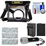 DiCAPac WP-S3 Waterproof Case for ILC Cameras with NP-FW50 Battery & Charger + LED Torch + Kit for Sony Alpha A5100, A6000, A6300, A6500