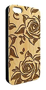 Genuine Maple Wood Organic Roses Flower Design Snap-On Cover Hard Case for iPhone 4/4S wangjiang maoyi
