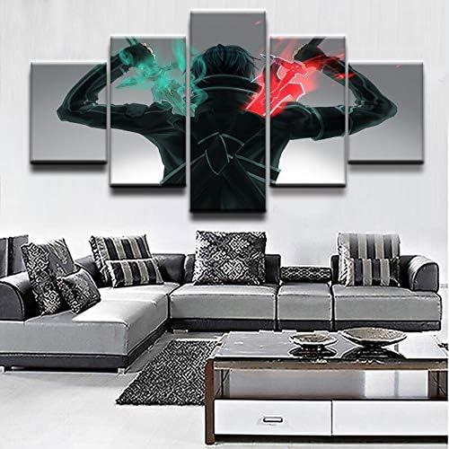 mmwin Cuadro en Lienzo decoración para el hogar, Arte de Pared, 5 Piezas, Arte, Cartel en línea Guerrero: Amazon.es: Hogar