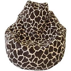 Large Animal Print Micro Suede Bean Bag Color-Size - Large - Giraffe
