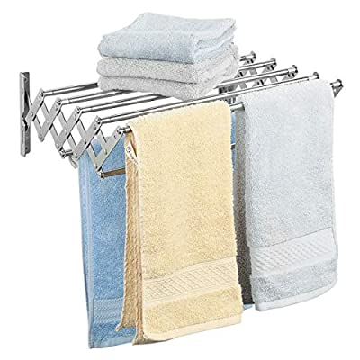 """Ogrmar Stainless Steel Space-Saving Towel Rack, Wall Mounted Retractable Huge Capacity Drying Rack for Hanging Towels - 【Space Saving】Compact retractable wall mounted design to maximize your limited space. When not in use,It can easily stores away into small spaces.Product size approximately:25.2""""L x 12.6""""W x5.7""""H (opened) & 17.91""""L x 4.72""""W x 5.7""""H (closed). 【Easy Installation】This retractable towel rack features a unique mounting style with complete hardware that's quicker and easier to set up.Easy-to-follow instructions included. 【High Quality】Made of stainless steel,rustproof, easy to clean with a damp soft cloth.A durable practical option for drying where you have a spare wall, indoors or outside. Maximum load weight: 22LB - laundry-room, entryway-laundry-room, drying-racks - 51tFI20SBAL. SS400  -"""