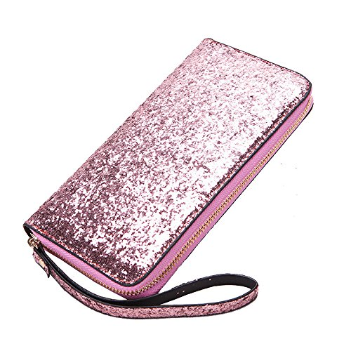Beaulegan Silver Sequins Keys Pink Purse Wristlet Phone Pink Wallet for Women Cards Black Zip and 77qxgZr