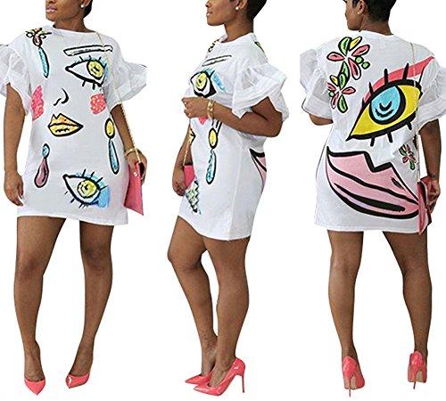 ENWEI Women's Casual Short Puff Sleeve Mini Dress Digital Pattern Print Loose Tunic T-Shirt Blouse White XL (Pattern Cartoon Casual)