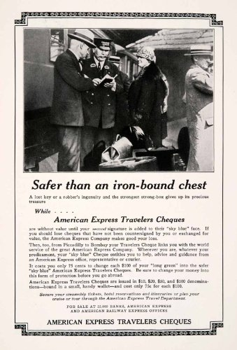 1927 Ad American Express Travelers Cheques Tourism Finance Railway Financial   Original Print Ad